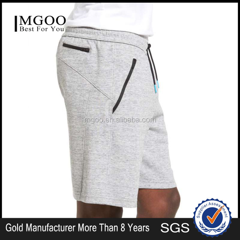 Customize Cotton Polyester Blends Grey Fleece Tech Shorts GYM Men Sportwear Shorts With Elastic Waistband