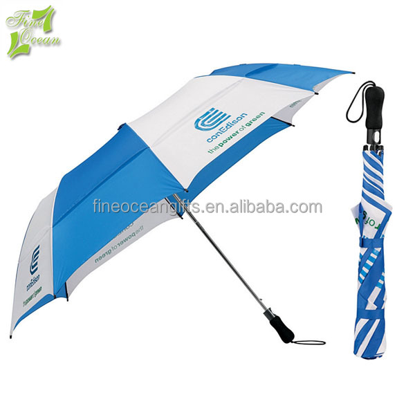 automatic large travel double layer wind rain resistant 2 folding umbrella for print two ads