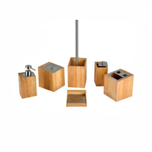 Bathroom Accessory Set Bamboo Wood Soap Dish Dispenser Tumbler Toothbrush Holder