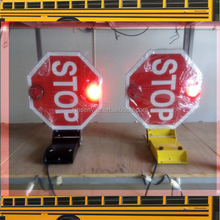 School bus safety stop sign with led warning light