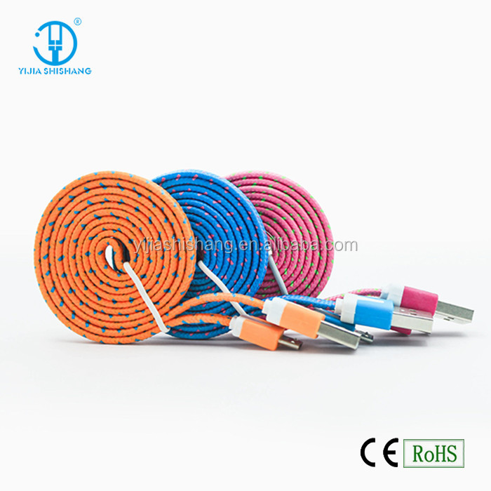 Colourful Nylon Baried USB to Micro 5pin Charger Cable, Noodle flat usb data charing line