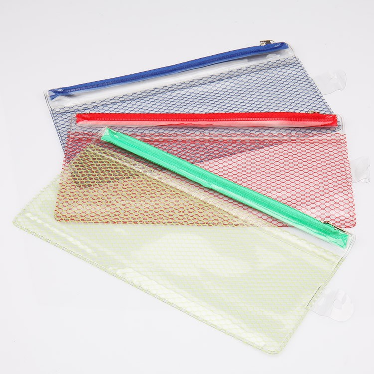 pvc mesh a4 a5 document bag with zipper