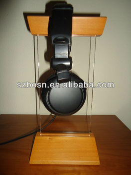 Acrylic Headphone Stand with a Wooden Base and Top