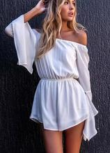 4299 Runwaylover New hot sale ladies slash neck flare playsuit