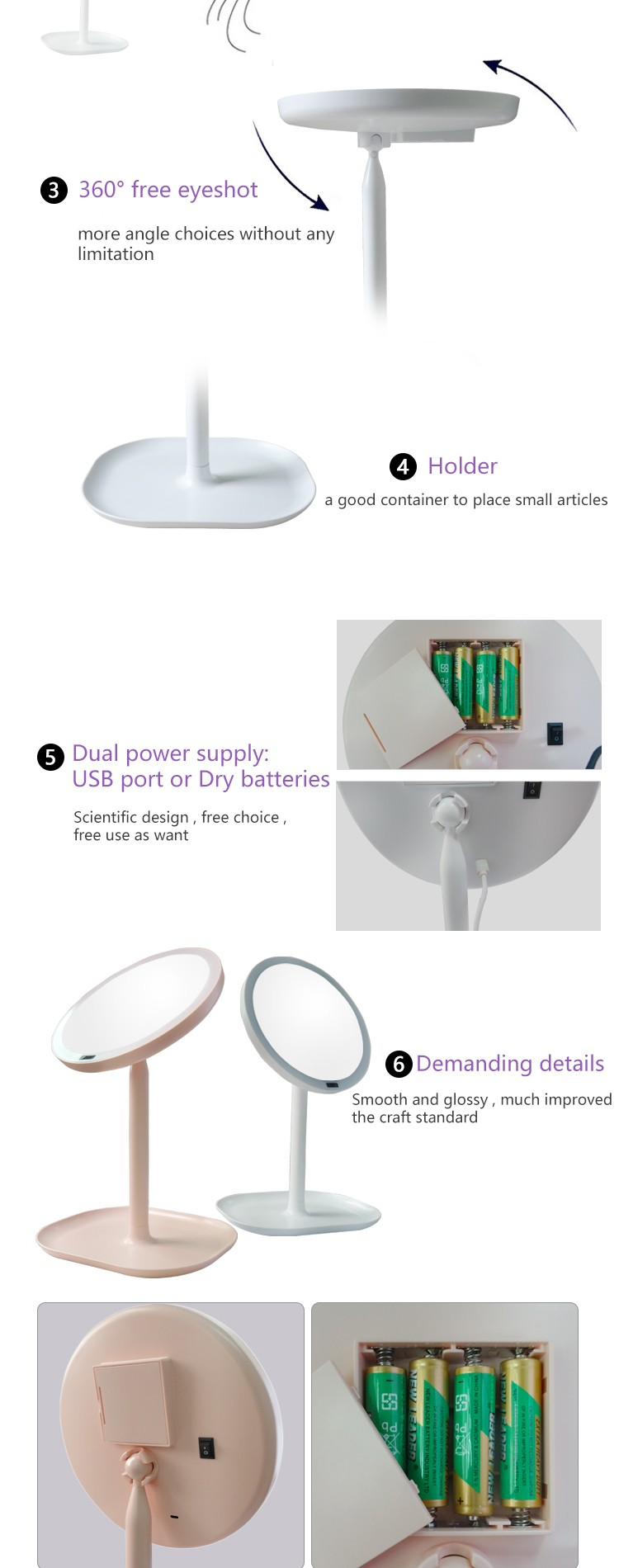 LED Infrared Sencing Table Stand ABS Magnification Makeup Mirror