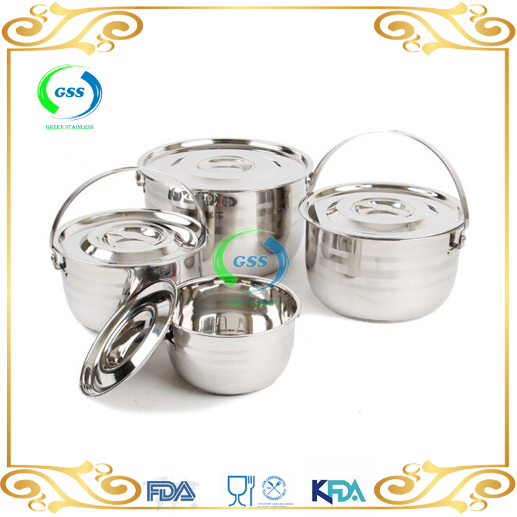4pcs Portable Stainless Steel Camping Cooking pot for 4-6 person Picnic Outdoor Cookware Set