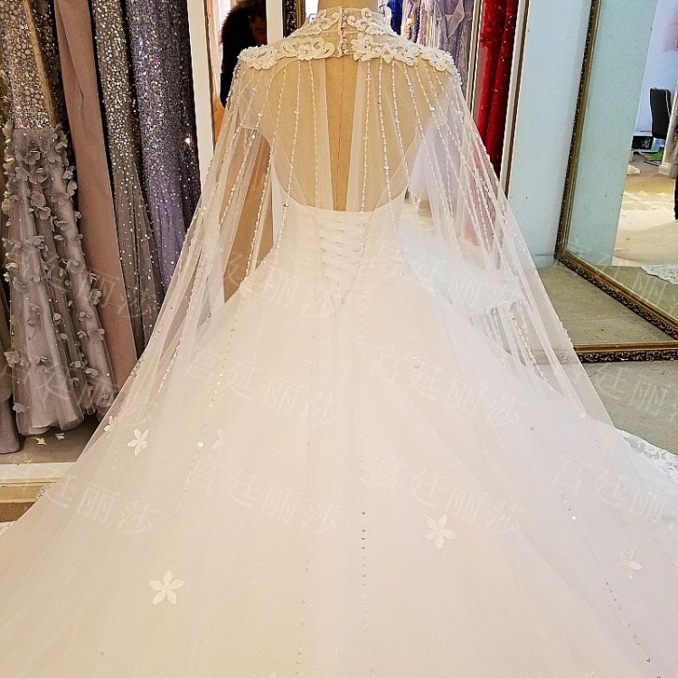 Ls73925 High Neck With Cape Lace Train Wedding Dress Luxury Lacha