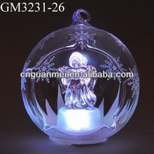Wholesale LED hanging christmas ornament open glass ball with reading angel