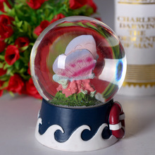 Custom 100mm Resin Glitter Water Globe Plays Tune English Country Garden Butterfly snow globe