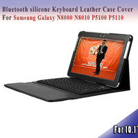 Bluetooth cover case for samsung galaxy Note 10.1 N8000/N8010/P5100 silicone Keyboard Leather Case Cover silicone case