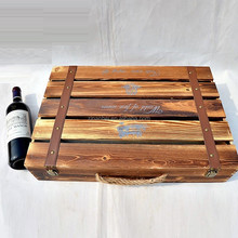 Burn effect antique color solid wood 6-bottle wine carrier