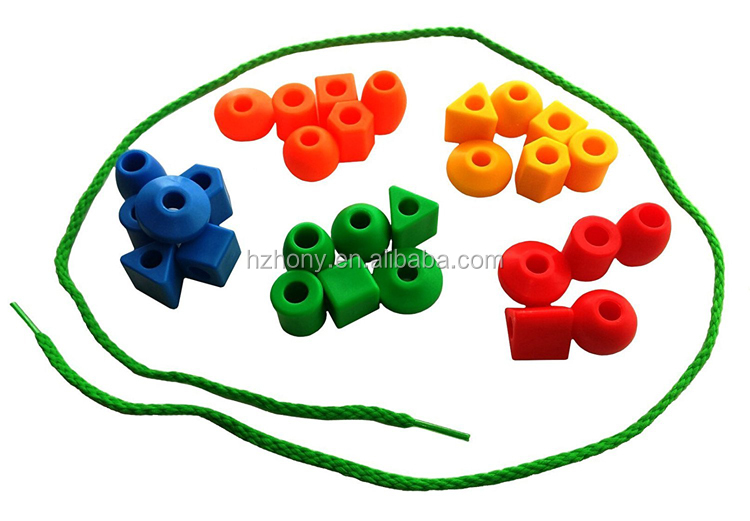 30pcs Education and Creative Toddler Kid Lacing Stringing Beads with String Tote Montessori Preschool Fine Motor Skills Toys
