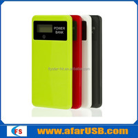 Colorful ultra-thin touch-surface mobile phone power pack with LCD and LED lighting