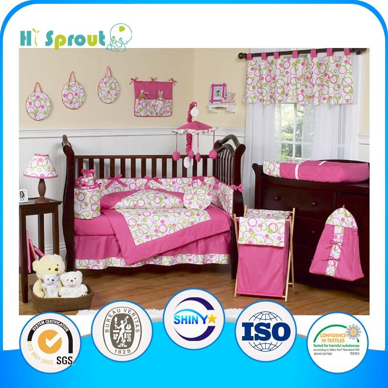 Hot Pink Trim Colorful Circle Girl Crib Bedding Sets