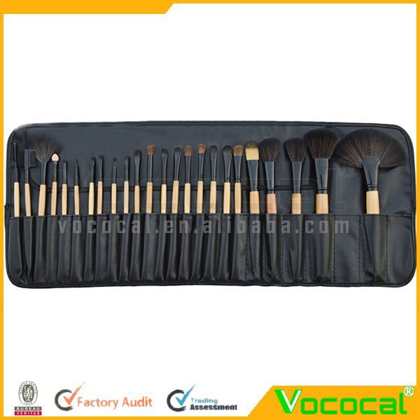 Professional 24Pcs Wood Makeup Brush Tool Cosmetic Make Up Set w/Pouch Bag