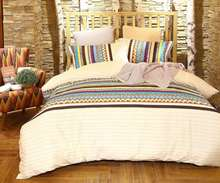 Bohemian Style Rainbow Stripes Printed 100% Cotton Bedding Set