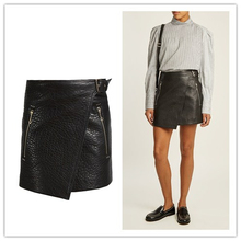 Designer Black Leather Mini A Line Skirt