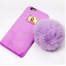 Fluffy mobile phone case for iphone 7 8 X, cute fur ball pattern case for iPhone 7,lovely case for girl