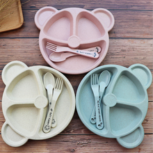 Wheat bear children's <strong>plates</strong> sets dinnerware creative household utensils baby breakfast <strong>plate</strong> dinnerware set