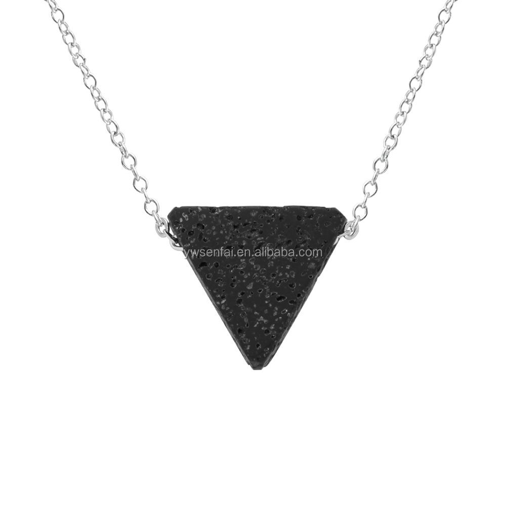 Hot Sale Big Black Triangle Shaped Natural Lava Stone Pendant Necklace with silver chain for women