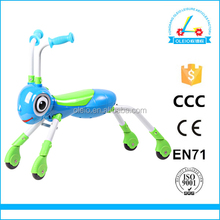 Plastic baby assemble 4 wheel plush animal scooter