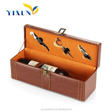 Latest design pu leather two bottle wine boxes wine carrier