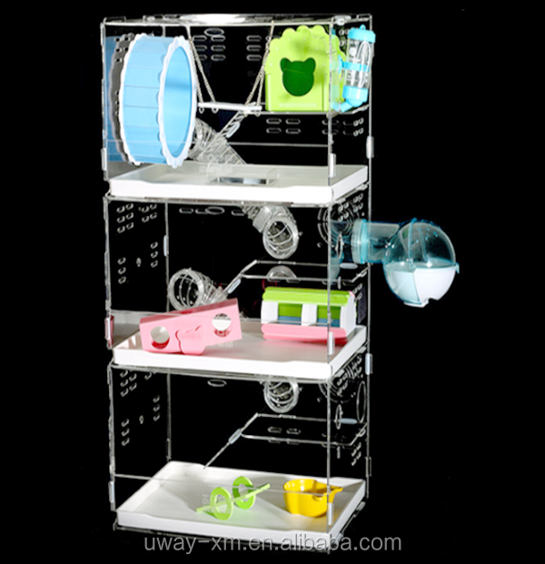 Tri-storey villa hamster cage with drawer,pipeline