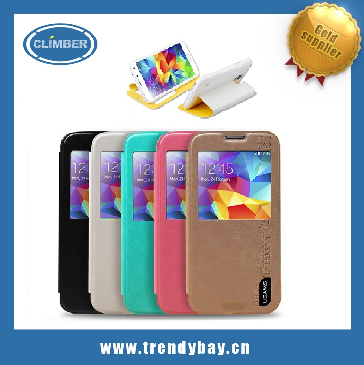 USAMS brand cell phone pu leather cover case for samsung galaxy s5 i9600