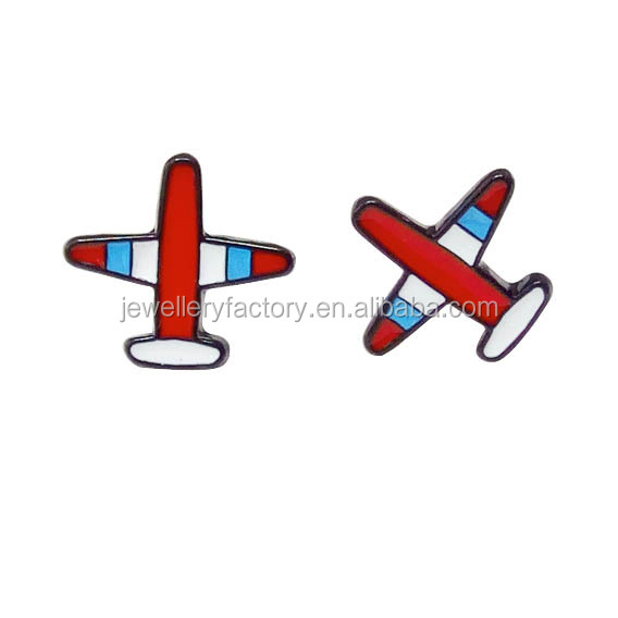 Women Fashion Colorful Cloisonne Enameled Airplane Earrings