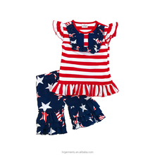 4th of july boutique children clothes fashion kids summer clothing sets new design ruffle baby girl patriotic outfits wholesale