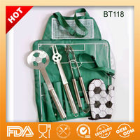 Hot sell 4pcs stainless steel football bbq tools with apron BT118 ,FDA/LFGB,OEM/ODM