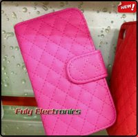 Grid pattern Wallet PU leather case for iphone 4 4s 5 5S iphone5 with card slot slide