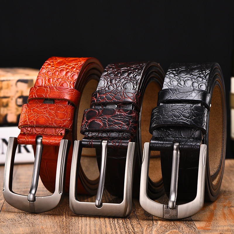 Men's <strong>belt</strong> crocodiles grain retro pin buckle fashionable and casual leather <strong>belt</strong>