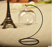 Wholesale mouth blown clear hanging glass ball candle holder / glass christmas ball