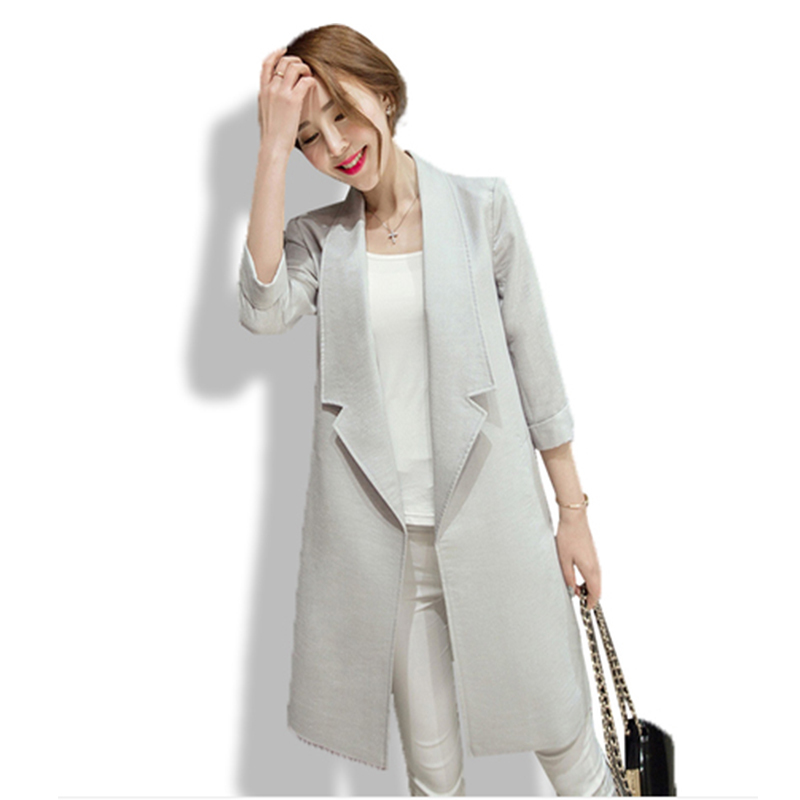 2015 Women Work Office Brand Slim Spring Autumn Ladies Women Jackets Grey White  Solid Coat ab11aebb7f83