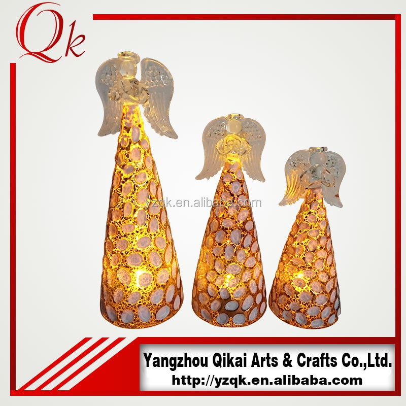 factory direct sell decorative glass angel with LED light for US market