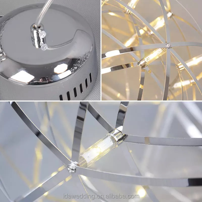 LED glowing decorative crystal ball hanging modern pendant light
