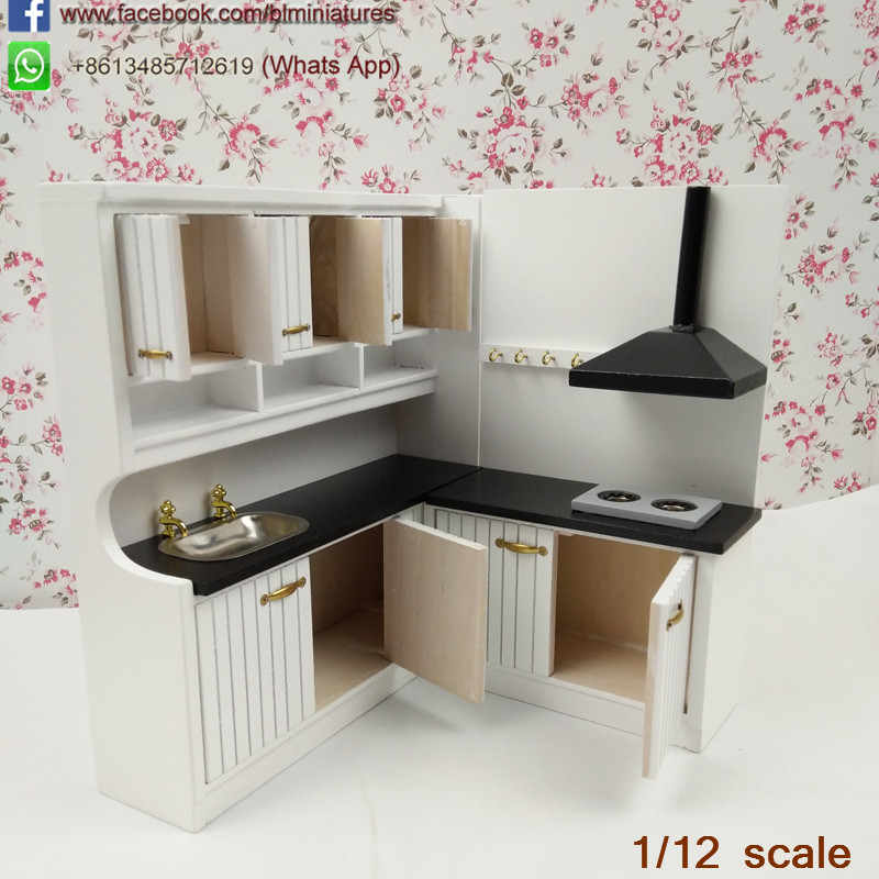 Wholesale One Inch Miniature Wooden Mini Dollhouse Kitchen Furniture
