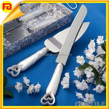Wedding cake knife Interlocking hearts design cake knife server set