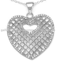 Valentine heart shape beautiful silver pendant glittering with gleam of 96 round diamonds and crafted to win hearts!!