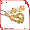 wholesale indian jewelry 24k gold jewelry set heart necklace and earrings set