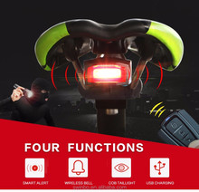 Bicycle Rear Light + Bicycle Anti-theft Alarm USB Charge Wireless Remote Control LED Tail Lamp Bike alarm electric bike alarm