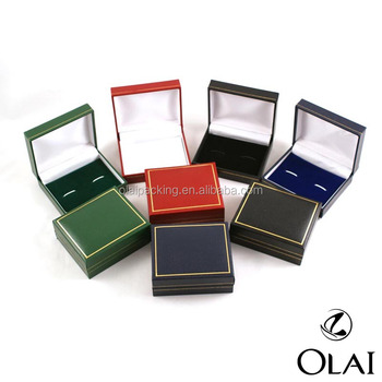 Classic cheap plastic cufflink box with Leatherette Paper,fashion custom cufflink packing box with multicolor wholesale