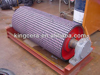 Slip and abrasion resistant ceramic lagging pulley for belt conveyor