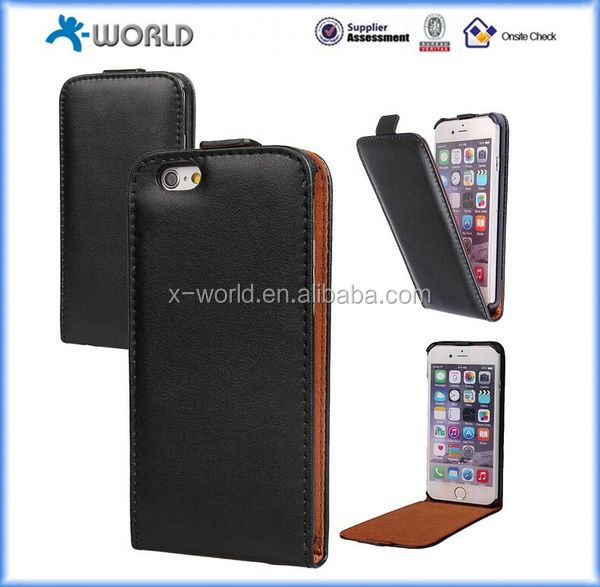 Vertical Flip Leather Pouch Case for iPhone 6 with Magnetic Closure, Slim Leather Case for iPhone 6