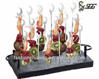 Stainless Steel Decorative Skewers Set for Doner Kebab,Vegetable and Fruit,with Slate Stand