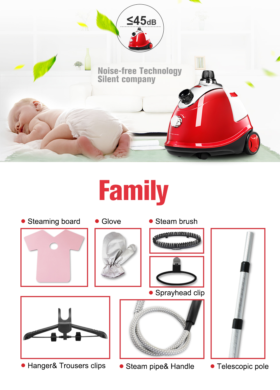 1800ml hot selling as seen on tv new laundry hanging electrical steam appliances garment care clothes steamer iron