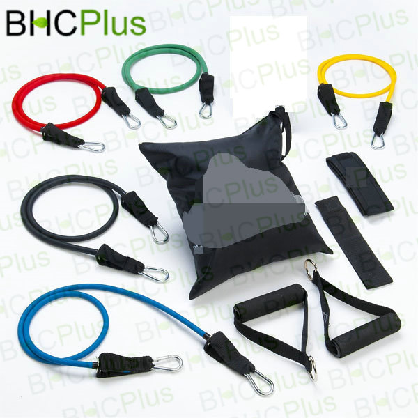 New & Hot Resistance Band Set with Door Anchor, Ankle Strap, Exercise Chart and Carrying Case