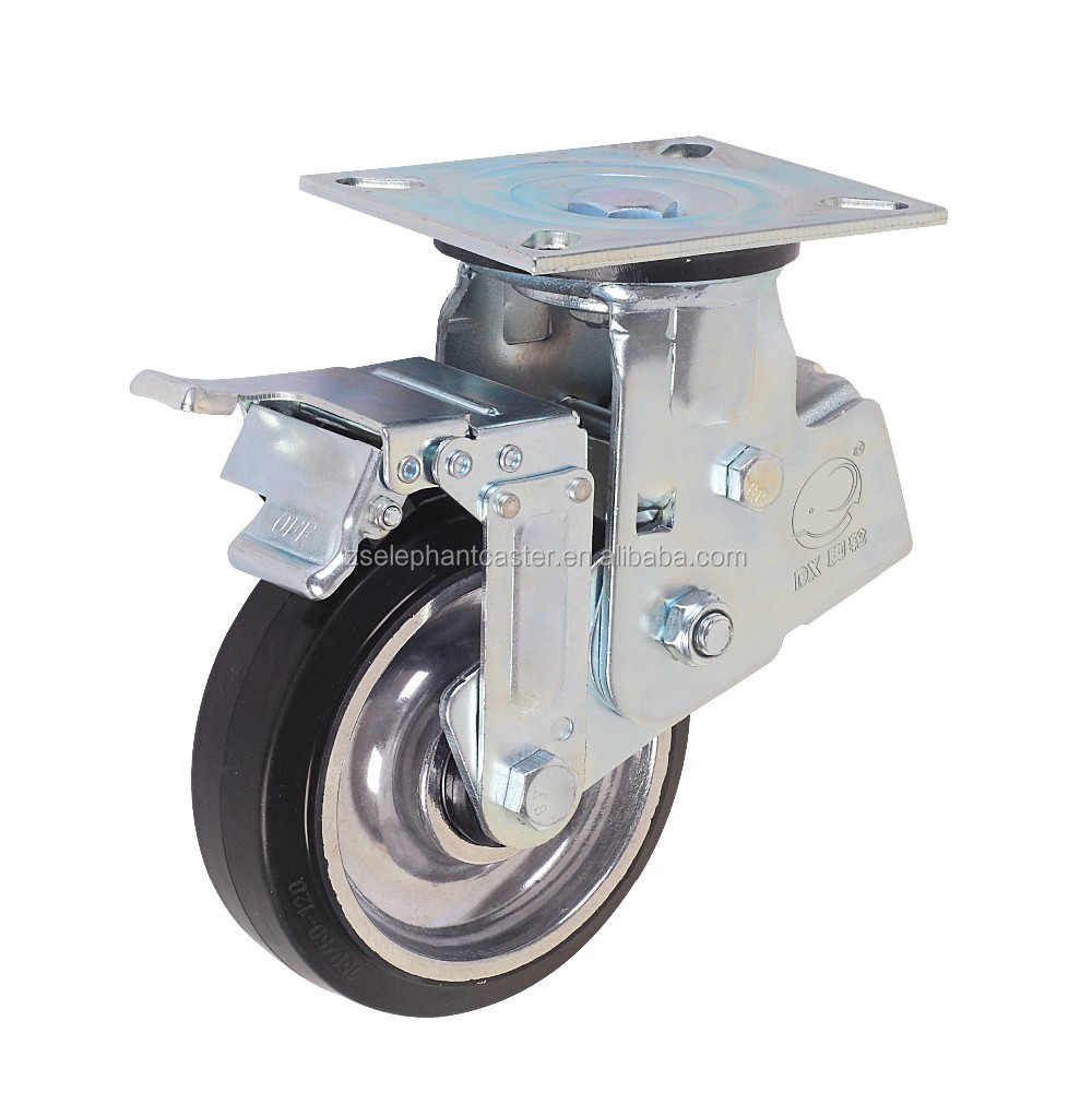 Shock Absorbing Aluminum Core Rubber Caster Wheel With Total Brake