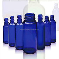 Wide mouth blue glass Pet Pill /Powder /Capsule Bottle Wholesale